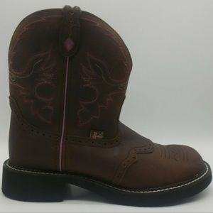 Justin Inji Aged Bark Brown Western Boots Size 11B